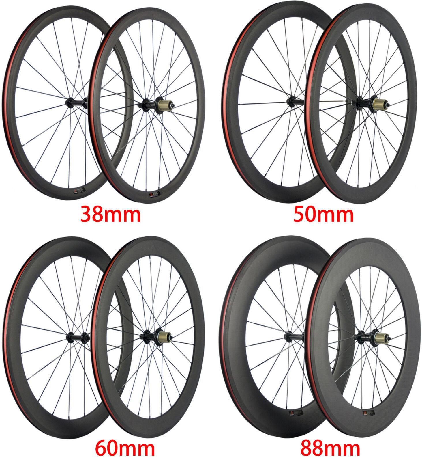 24 38 50 60 88mm Bicycle Bike Wheels Carbon Fiber Wheelset 700C Clincher Tubular