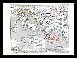 1849 houze map ottoman empire turkey greece italy sicily vatican image is loading 1849 houze map ottoman empire turkey greece italy gumiabroncs Choice Image