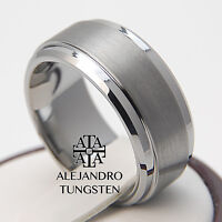 Tungsten Ring Wedding Band Comfort Fit 8mm Strong Brushed Design Size 6 To 14