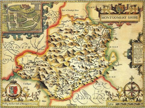 reproduction old map WALES MONTGOMERYSHIRE 1610 by Speed