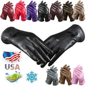 Womens-Winter-Warm-Genuine-Lambskin-Leather-Driving-Soft-Lining-Cycling-Gloves-J