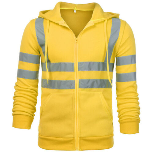 Details about  /Mens HI VIS VIZ HIGH VISIBILITY Safety Work Jacket Coat Hoodie Outwear Tops US