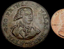 S522: 1790's trade Conder Token : Prince of Wales Halfpenny : D&H Middx.953a