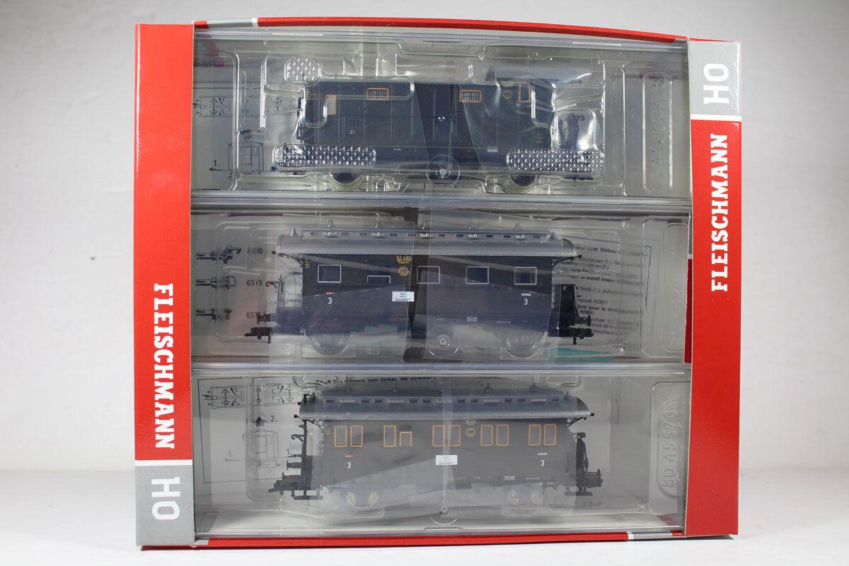 Fleischmann 481805 accanto a treno vagoni-Set 3 pezzi DRG EP. II, nuovi.