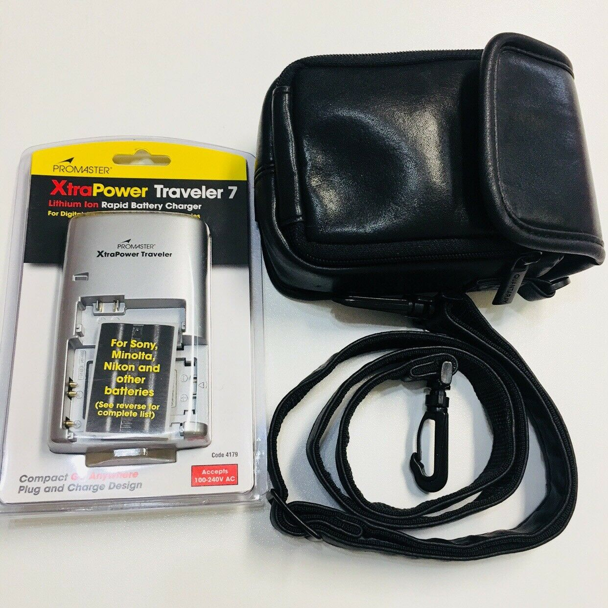 Quantaray Leather Camera Case ProMaster XtraPower Traveler 7 Battery Charger