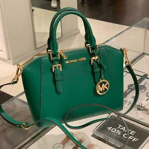 Dettagli su MICHAEL KORS CIARA MD LEATHER MESSENGER SATCHEL CROSSBODY BAG JEWEL GREEN