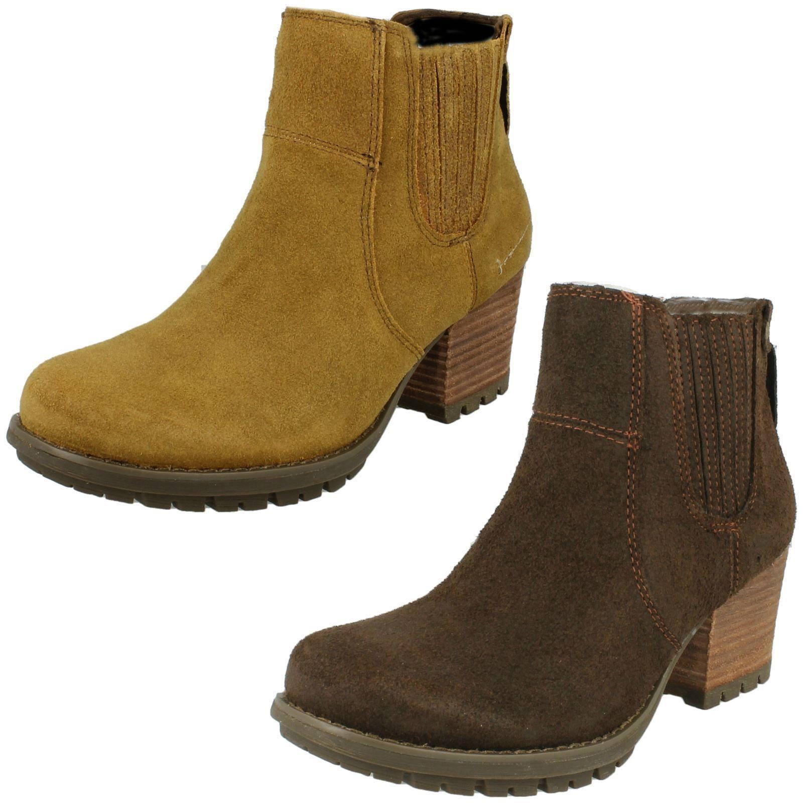 Ladies Caterpillar Allison Mocha Or Dark Beige Suede Pull On Ankle Boots