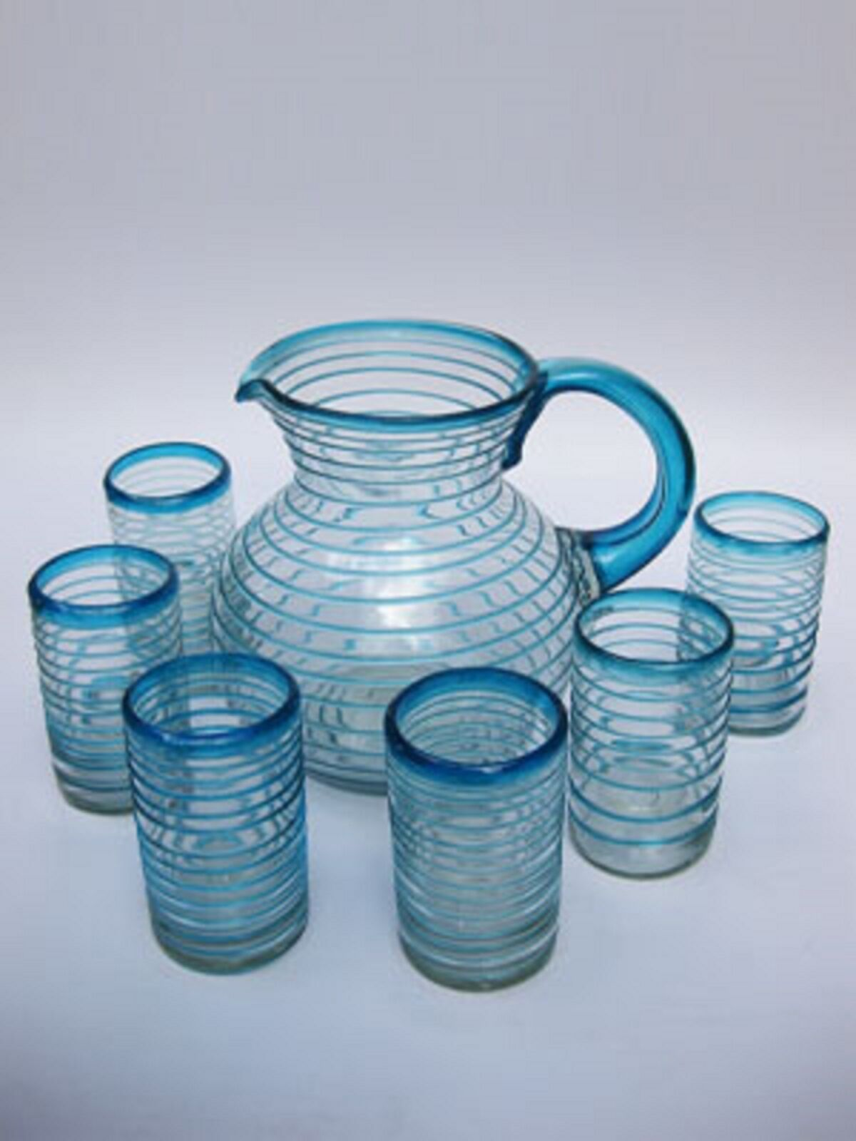 Mexican Glassware - Aqua bluee Spiral pitcher and 6 drinking glasses set