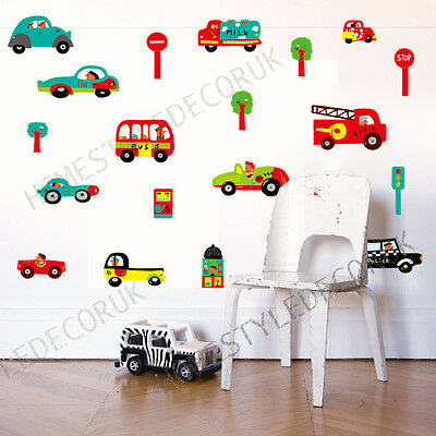 Childrens Transport Vehicles Cars Wall Stickers Decals Nursery Boys Kids Bedroom