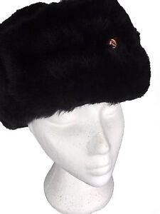 Genuine SOVIET USHANKA Hat Russian UdSSR Military Navy Officer Black ... aed118d50db