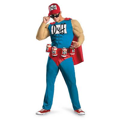 THE SIMPSONS Mens Duffman Beer Hero Classic TV Show Muscle Halloween Costume XXL