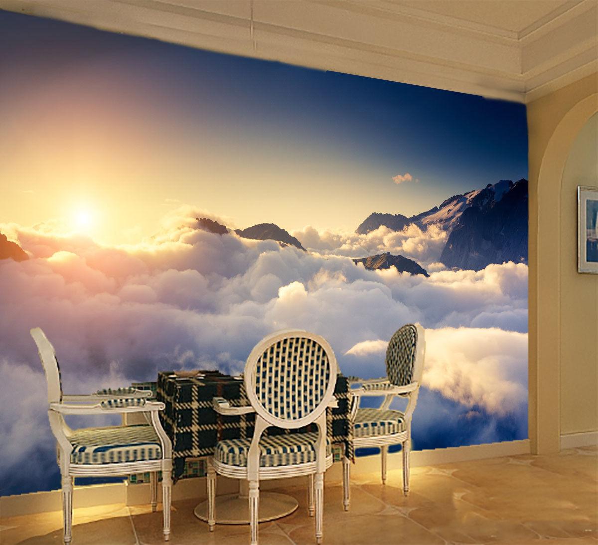 Papel Pintado Mural De Vellón Vellón De Pico Nubes Sol 125 Paisaje Fondo De Pantalla ES AJ cefcd1