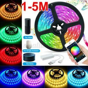 1-5M-Wifi-Smart-5V-USB-RGB-2835-Led-Lichtleiste-Tuya-App-Fuer-Amazon-Alexa-Google
