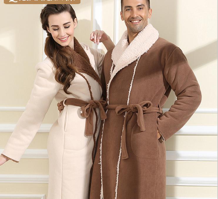 Femme Oxford Hiver Lâche Long épais Chaud Hiver Pyjamas Velours Doubleure Manteau