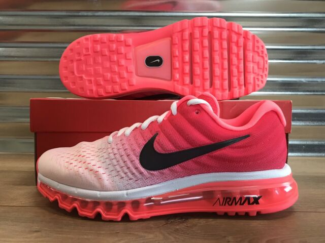 Womens Nike Air Max 2017 Running Shoes Hot Punch White Black SZ ( 849560 103 )