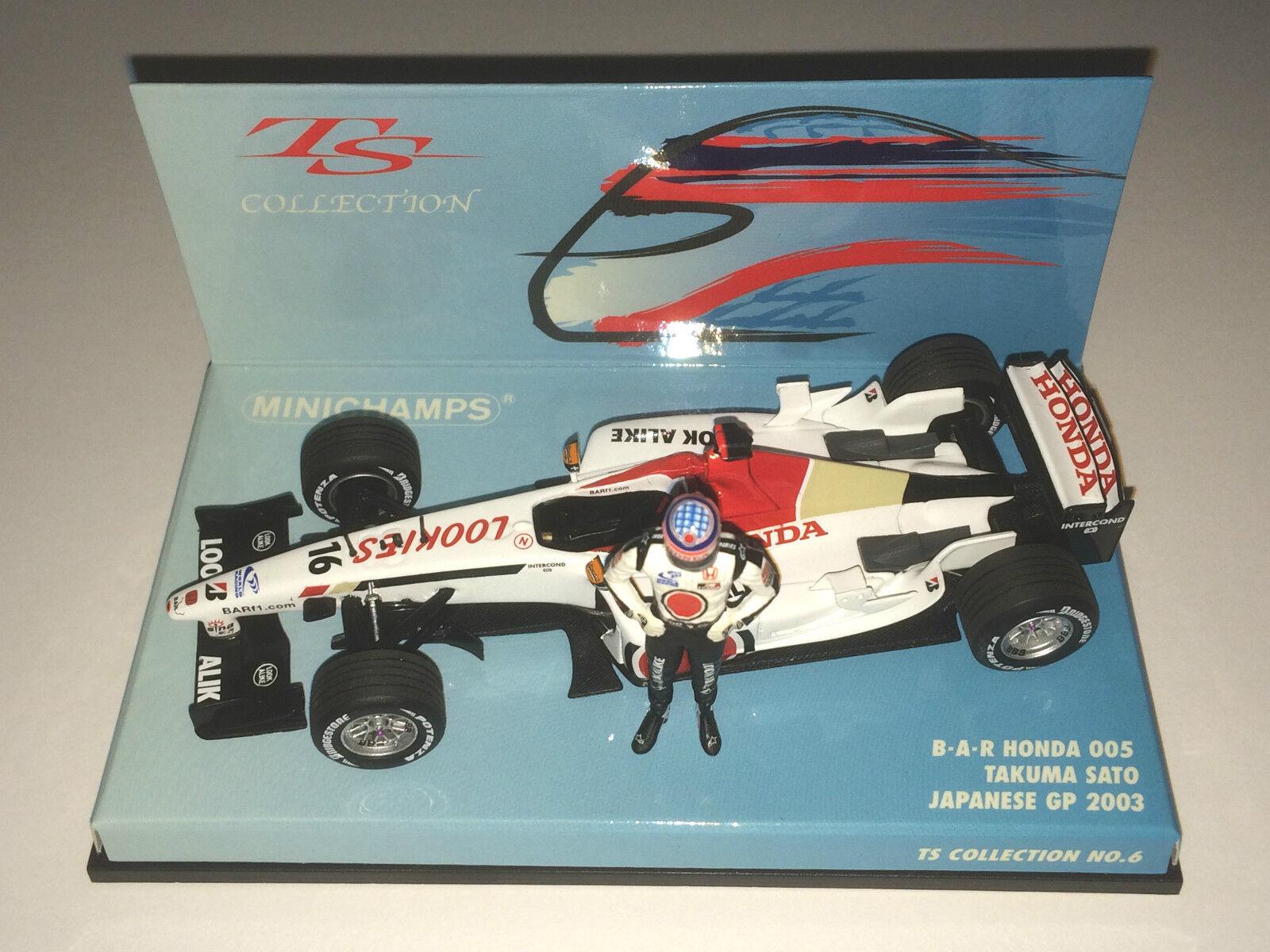 Minichamps F1 1 43 BAR HONDA 005 TAKUMA SATO JAPANESE GP 2003 & STANDING FIGURE
