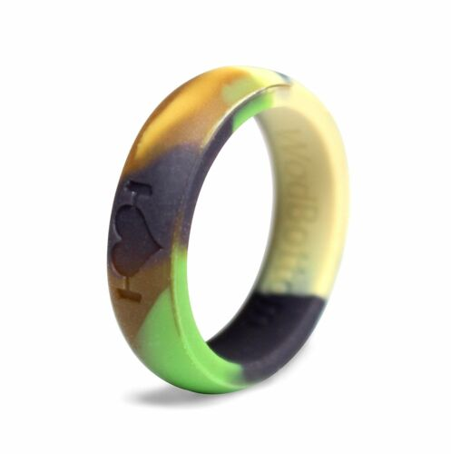 Camouflage Silicone Wedding Rings for Women, Bands Perfect for Crossfit, Fitness