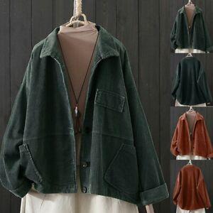 Women-Cardigan-Corduroy-Lapel-Pocket-Long-Sleeve-Coat-Winter-Jacket-Outwear-UK