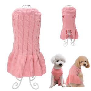 Hand-Knitted-Girl-Dog-Sweater-Skirt-Jumper-Dress-Puppy-Pet-Cat-Clothes-Coat-Pink