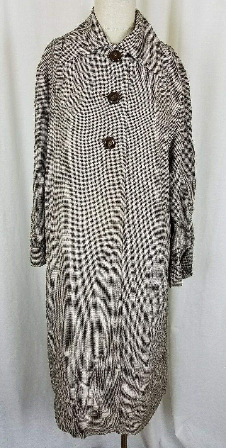 All-State for All Weather Houndstooth Plaid Rain Long Maxi Trench Coat Womens 14