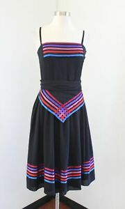Vtg 70s Albert Nipon Black Colorful Striped Pleated Fit and Flare Dress Size 2
