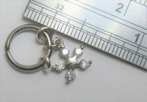 Horizontal Hood Clit Clitoral HCH Clear Gem Crystal Star Dangle Hoop Ring 16G