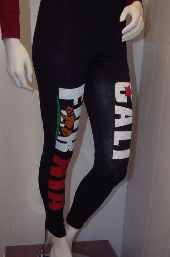 So~Cute New California Republic Cali Bear Printed Leggings Size Small Black