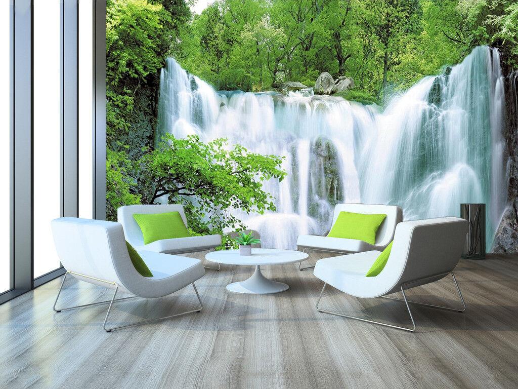 3D Grün Waterfall 832 Wallpaper Mural Paper Wall Print Wallpaper Murals UK
