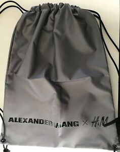 H M Bag Gray Drawstring Backpack Purse