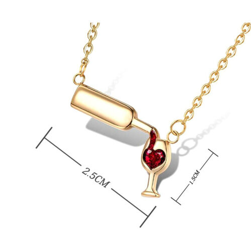 Women Fashion Wine Glass Crystal Rhinestone Heart Pendant Necklace Jewelry
