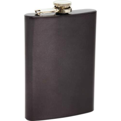 Glossy Black 8oz Stainless Steel FLASK Screw Down Cap Liquor Alcohol Hip Pocket