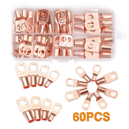 60PCS Assortment Copper Bare Ring Lug Terminals Closed End Wire Crimp Connectors