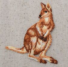 Iron On Embroidered Applique Patch Natural Kangaroo Zoo Animals 155469