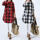 Zanzea Plus Sizes Ladies Plaid Check Long Shirt Tops Blouse Mini Dress Party New
