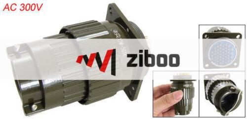 Y2M-50TK Metal Shell AC 300V 50 Pins Army Green Circular Connector 7.7x4.5x4.5cm