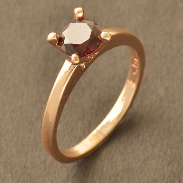 Stunning 9K CC Rose Gold Filled Red Ruby CZ Wedding Engagement Ring Size 7
