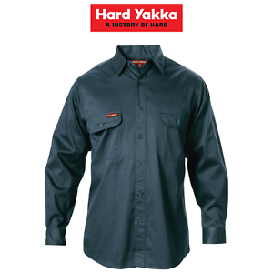 Mens-Hard-Yakka-Long-Sleeve-Cotton-Drill-Work-Shirt-Tradie-Safety-Button-Y07500