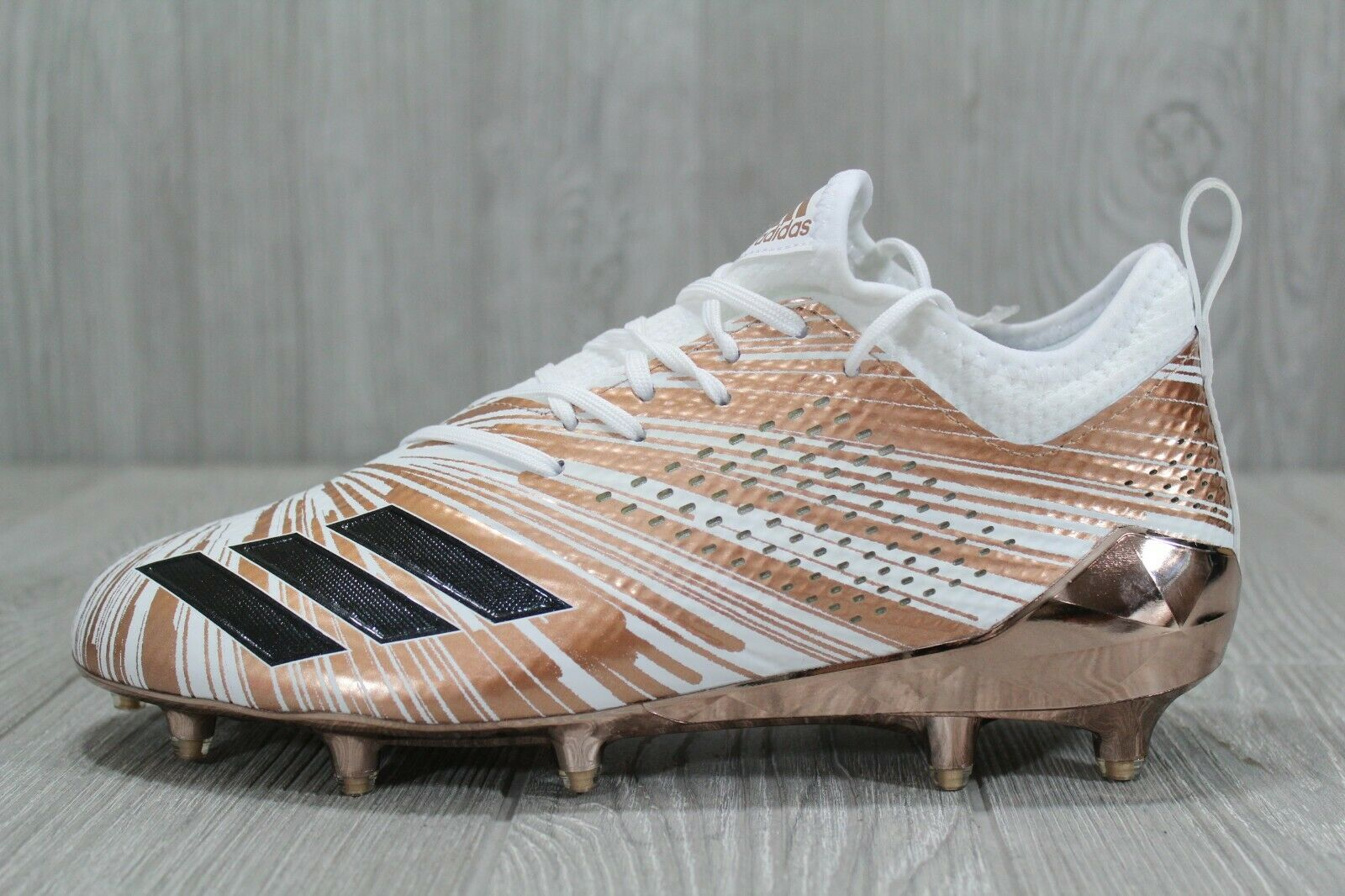 39 Adidas AdiZero 5-Star 7.0 Metallic gold White Cleats Size 8, 13 CQ0345