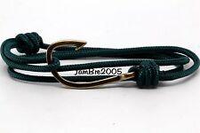 Handmade Solid Green Nautical Rope Cord Bronze Fish Hook Bracelet Fashion Trendy