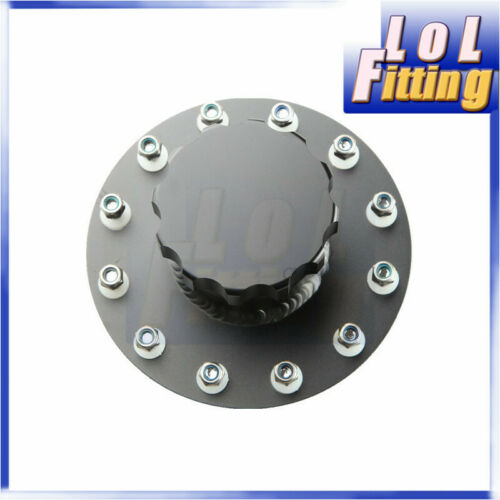 Billet Aluminum Fuel Cell Filler Neck Tank Cap 12 Bolt Flange Black US STOCK