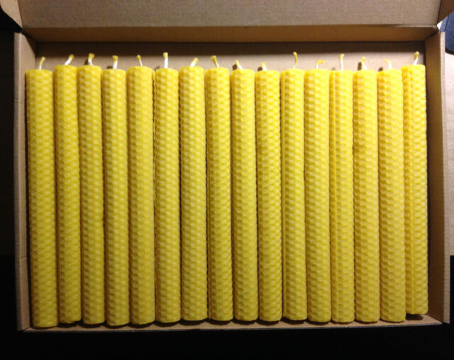 SALE 16 PCS BEESWAX  HAND ROLLED CANDLES