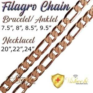 SOLID-COPPER-FILAGRO-CHAIN-LINK-BRACELET-ANKLET-ARTHRITIS-THERAPY-WOMEN-PC06B