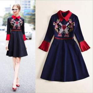 86c2d3c3b83d 2018 New Women Dress Embroidery Elegant Long Sleeves Dresses Luxury ...