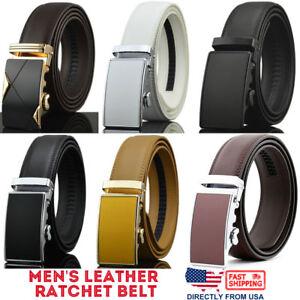 Men-039-s-Genuine-Leather-Golf-Dress-Belt-Exact-Fit-Automatic-Buckle-Ratchet-Belt