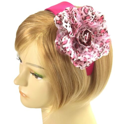 Handmade Fascinator Hot Pink Leopard Print Satin Headband Silk Hairband