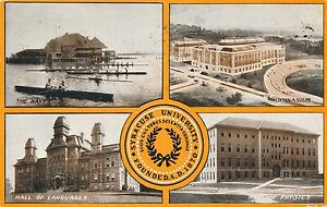 SYRACUSE-NY-Syracuse-University-Four-Scenes-and-Seal-with-Flag-on-Back-1908
