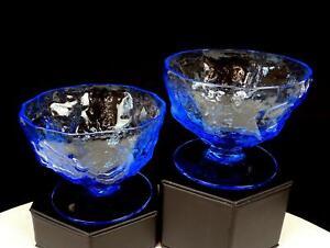 "SENECA GLASS DRIFTWOOD CORNFLOWER BLUE CRINKLE STYLE 2 PC 2 3/4"" SHERBETS"