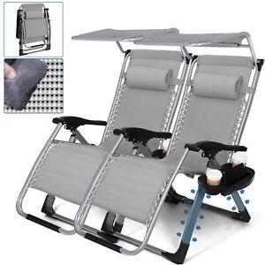 Heavy-Duty-Set-of-2-Zero-Gravity-Chair-Recliner-w-Sunshade-Holder-Support-400lbs