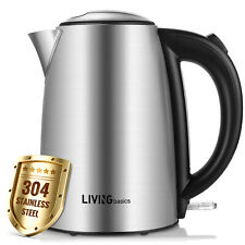 Electric Kettle Water Boiler Stainless Steel 1500W 1.7L BPA Free - LIVINGbasics™