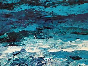 TURQUOISE-SEA-Original-Acrylic-Palette-Knife-Painting-9-034-x12-034-Julia-Garcia-Art